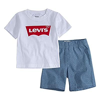 Levi's Baby Boys' Graphic T-Shirt and Shorts 2-Piece Outfit Set, White Batwing, 9M