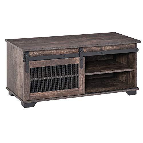 homcom Tavolino da Salotto caffè e Mobile TV Stile Industriale Rustico con Anta Scorrevole e Mensole Regolabili, Marrone Scuro, 100x45x45cm