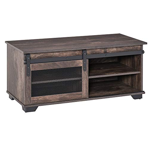 HOMCOM Farmhouse Coffee Table with Sliding Mesh Barn Door, Storage Cabinet, and Adjustable Shelves, Dark Brown