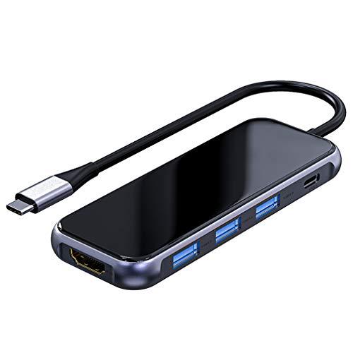 USB C Hub Adaptador USB C 7 En 1 con 3 Puertos USB 3.0 4K HDMI USB C Fast Power Delivery Puertos SD Y TF USB Tipo C HUB Portátil para Macbook Pro Laptop Y Más Dispositivos USB C