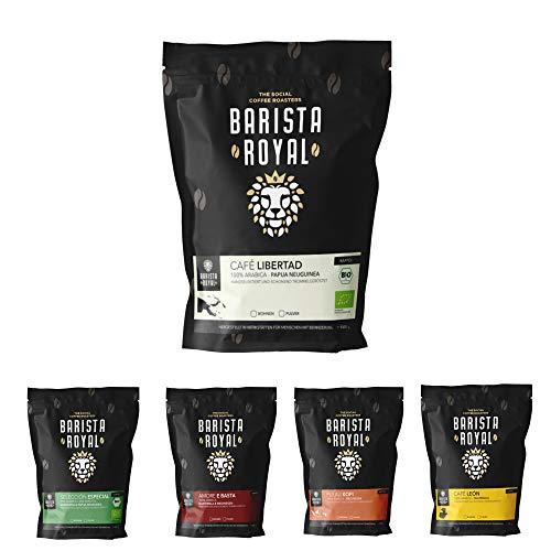 BARISTA ROYAL Kaffee Probierset ganze Bohne 5 x 350g | Kaffeebohnen Entdeckerpaket im Geschenkset | Arabica | bio und fair | Ideal für Vollautomat, Filtermaschine, Handfilter und French Press