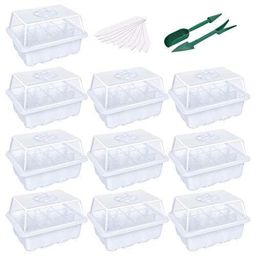 Seedling Tray,Seed Starter Tray Grow Trays Seed Propagator Tray Set Seedling Trays with Lid Plastic Seedling Seed Starter Trays Germination Growing White