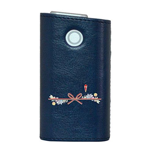 glo グロー グロウ 専用 レザーケース レザーカバー タバコ ケース カバー 合皮 ハードケース カバー 収納 デザイン 革 皮 BLUE ブルー ユニーク 花 フラワー リボン 005992