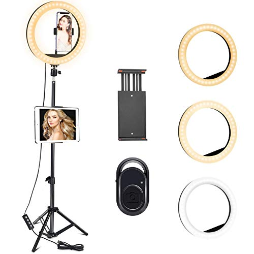 COVACURE 10.24' LED Ring Light with Tripod Stand, 3 Color Dimmable & 10 Brightness Levels with Bluetooth Receiver, Up to 120cm Selfie Ring Light for Live Streaming, Video, Makeup, Valentine's Day Gift