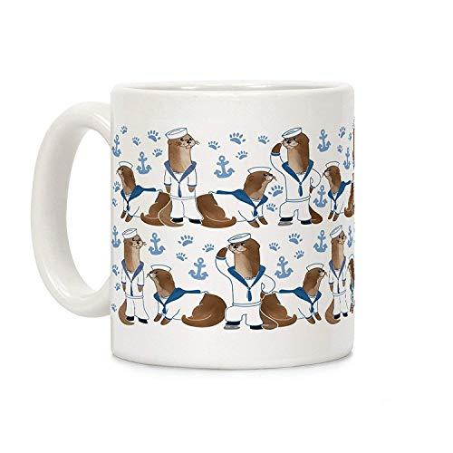 DKISEE Weiße Keramik-Kaffeetasse mit Seefahrer-Otter-Motiv, für Weihnachten, Thanksgiving, Festival, Freunde, Geschenk, 325 ml