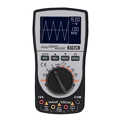 linjunddd Osciloscopio Multímetro 2 En 1 Corriente De Prueba Pantalla Led Voltaje AC DC Pantalla Et826 Color Negro Suministros Industriales