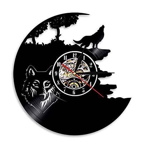 LED 7 Farben Wanduhren Howling Wolf Vinyl Record Horloge Wild Animal Art S Watch Einzigartige Wohnkultur Art Neuheit Geschenke mit Licht