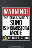 Sung: Warning The Genius Mind Of Sung Is In Brainstorm Mode - Sung Name Custom Gift Planner Calendar Notebook Journal