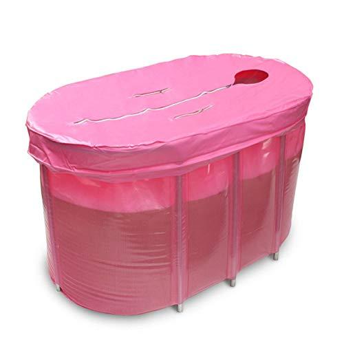 Faltbare Wanne, Doppelbadewanne für Erwachsene, Erwachsene Badewanne Dicker Kunststoffeimer Babybadewanne (Farbe: Rosa/Grün),Pink