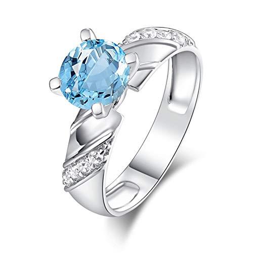 AnazoZ Anillos Mujer Compromiso,Anillos Plata Mujer 925 Redondo 7MM Topacio Azul Blanco Anillos Plata Azul Talla 15