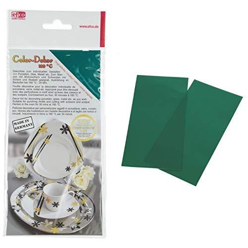 Color Dekor, 2 Feuilles décalcomanie Vert 10 x 20 cm, pour décoration de porcelaine, verre, métal
