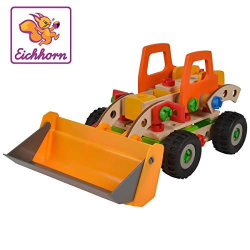 Eichhorn 100039057 Constructor Radlader vielseitiges Holzspielzeug, 140 Bauteile, 6 verschiedene Konstruktionen, für Kinder ab 6 Jahren, 100 Prozent FSC Holz