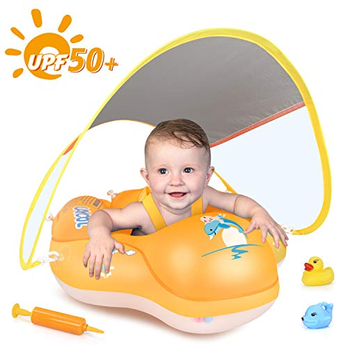 LAYCOL Baby Swimming Float Inflatable Baby Pool Float Ring Newest with Sun Protection Canopy,add Tail no flip Over for Age of 3-36 Months (Orange, L)