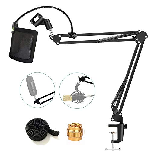 Tencro Microphone Stand with Pop Filter Heavy Duty Suspension Boom Scissor Arm Stand Mic Clip Holder U-shaped Windscreen for Blue Yeti, Snowball & Other Mic in Recording, Broadcasting, Etc.