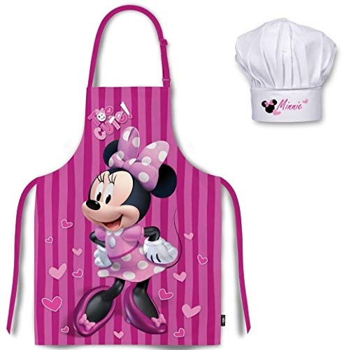 Palleon Minnie Ensemble de cuisine pour enfant Tablier et toque de chef