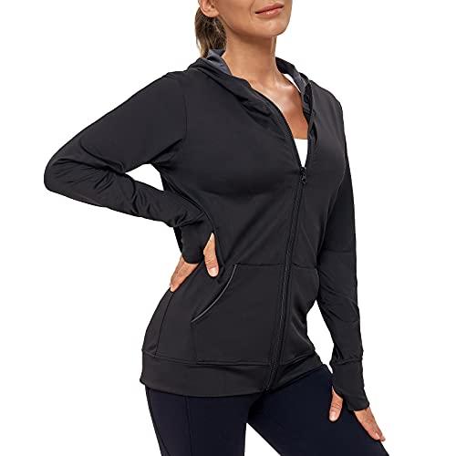 AMZSPORT Damen Laufjacke Sportjacke Langarm Trainingsjacke Sweatjacke mit Tasche Für Fitness Yoga Sport, Schwarz M