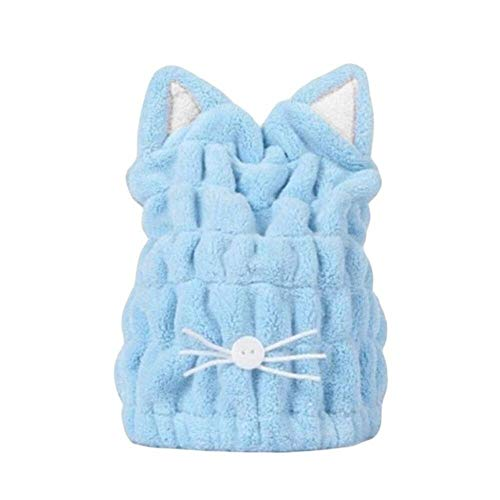 LinZX 2 pcs Joli Bonnet de Douche Oreilles de Chat de Bande dessinée pour Cheveux Serviettes enveloppées de Douche Chapeaux Microfibre Bad Caps,Blue
