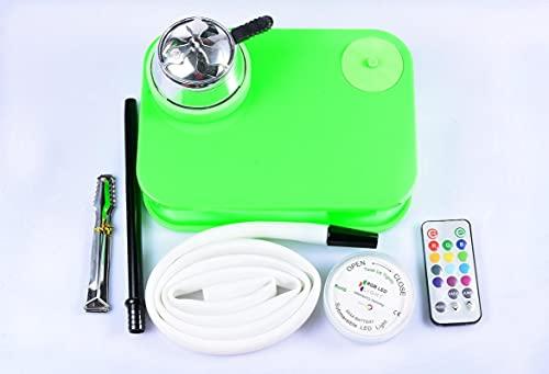Shisha Hookah Set portátil libro cachimba con silicona tazón cachimba manguera carbón titular LED con control remoto shisha fumar verde