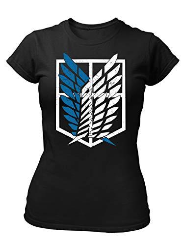 clothinx AOT Scouting Legion 2-Farb Variante Anime und Manga Design mit Titan Aufklärungstrupp Wappen-Schild Perfekt für Cosplay Fans und die nächste Convention Damen T-Shirt Fit Schwarz Gr. M