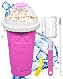 Slushie Maker Ice Cup Quick Frozen Smoothies Cup Pinch Silica Cup, Homemade Milk Shake Ice Cream Maker Machine, DIY Hot Summer Cooler Smoothie Cup for Kids and Adults (Pink)
