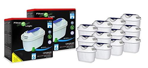 FilterLogic FL402H - 12 unidades - cartucho de filtro compatible con BRITA Maxtra para Elemaris / Marella / Navelia / Fun - Bosch Siemens Tassimo jarra filtrante - 100486 1009696