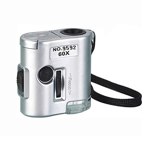 AKDSteel 60X Pocket Microscope LED UV Licht Vergrootglas Mini Sieraden Evalueren Vergrootglas Microscoop Glas Gereedschap voor School Kantoor