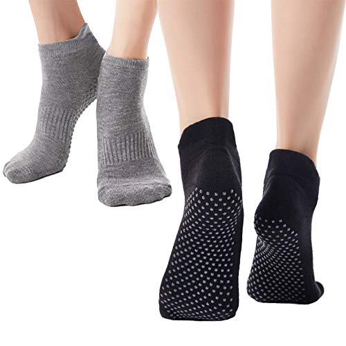 Ofima rutschfest Yoga Socken für Damen 2 Paar, Anti Rutsch Socken für Pilates Tanz Barre Fitness, Full Toe Sports Workout Socken Anti-Skid Grip, Stoppersocken Pilates Socken Noppensocken 36 bis 42