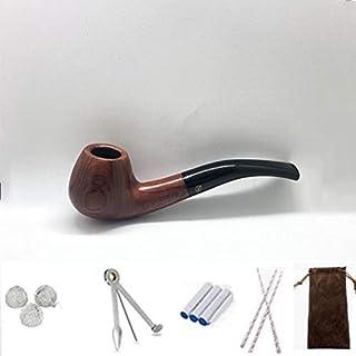 baokemeng Rose Wood Smoking Pipe,Roken Pipe met 3-in-1 Pipe Scraper,3Pipe Cleaners, 3 metalen ballen, Bonus een Pipe Pouch
