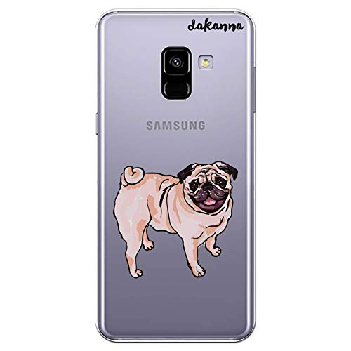 dakanna Funda para Samsung Galaxy A8 2018 | Perro Carlino Pug | Carcasa de Gel Silicona Flexible | Fondo Transparente