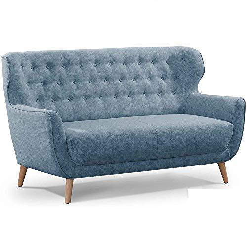CAVADORE Zweisitzer-Sofa Abby / Klassisches Polstersofa mit Knopfverzierung / 153 x 89 x 88 / Strukturstoff, blaugrau