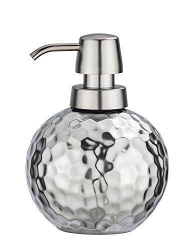 WENKO Seifenspender Lunas Keramik - Flüssigseifen-Spender, Spülmittel-Spender Fassungsvermögen: 0.5 l, Keramik, 12 x 15 x 12 cm, Silber matt