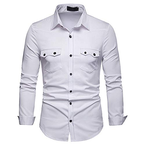Men's Shirt Slim-Fit Chic Easy Iron for Suit Business Wedding Leisure Long Sleeve T Shirt Button Pocket Shirts Men Stretch Light Elegant Shirt Autumn Spring New Holiday Party Top XL White