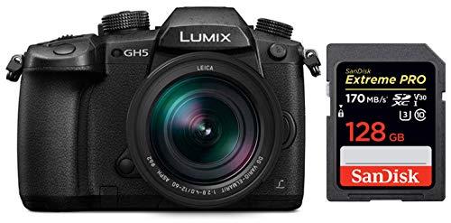 Panasonic Lumix GH5 20.3MP 4K Mirrorless Camera with Leica DG Vario-Elmarit 12-60mm F2.8-4.0 Lens + SanDisk 128GB Extreme Pro SDXC UHS-I Card – C10, U3, V30, 4K UHD, SD Card