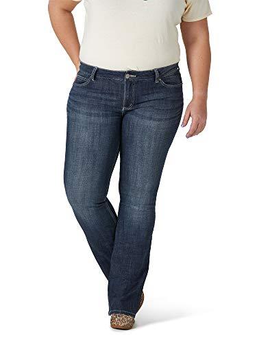 Wrangler Women's Plus Size Western Mid Rise Boot Cut Jean, -dark blue, 20WX30