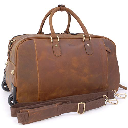 ASHWOOD - Genuine Leather Wheeled Holdall - Large Overnight/Business/Weekend/Travel Trolley Bag with Telescopic Handle - Albert - Mud