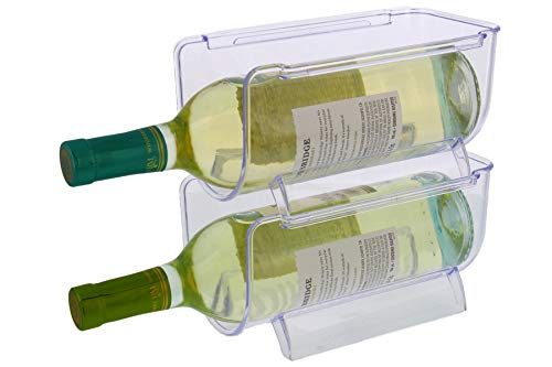 Cuisinart Wine Bottle Holder, 2pk, Stackable Wine Bottle Storage and Organizer Perfect for The Refrigerator, Pantry, and Kitchen, 8 x 4.5 x 4 inches, BPA Free, Freezer Safe