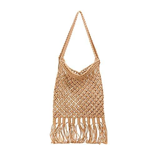 YIXIA Bolsa tejida de malla hueca con borla, bolsa de malla larga, tejida a mano para ir de compras, al aire libre/playa/trabajo para niñas