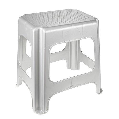 Maxi-Stool, Sturdy Plastic (PP), 41 x 33.5 x 42.5 cm, Silver