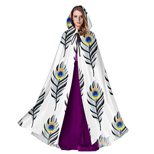 LICTshop Peacock Feather Soft Long Design Womens Hooded Cloak Toddler Hooded Cloak 59inch for Christmas Halloween Cosplay Costumes