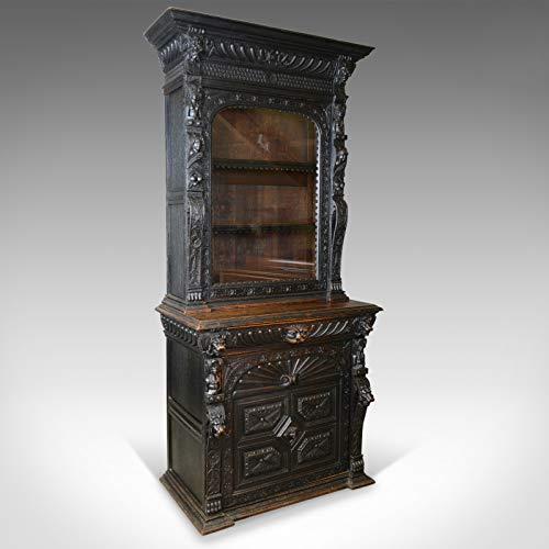 Vitrina alta antigua, victoriana, inglés, roble, armario,