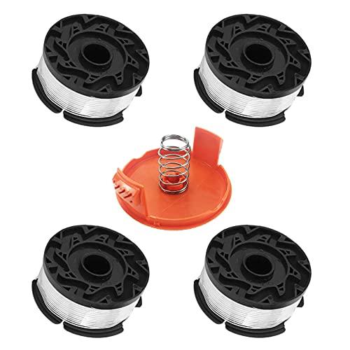Yakobst 4 Rollos Repuesto Hilo Recortadora Línea, 1 Tapa de Carrete para cortacésped, Carrete de Repuesto para cortadora de césped con Tapa y Resorte (Compatible con Black and Decker AF-100)