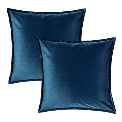 Bedsure Funda Cojin 40 x 40 Azul Marino - Juego de 2 Fundas Cojines Decorativas de Terciopelo, Muy Suave, Funda de Almohada Cuadrada para Sofá, Dormitorio y Sala de Estar, con Cremallera