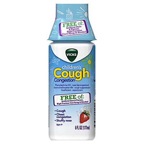 Vicks Children's Cough and Congestion Relief, 6 fl oz - Free of Artificial Dyes and Flavors