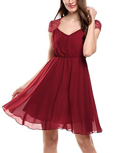 Zeagoo Damen Elegant Sommerkleid Chiffon Kleid Festliches Cocktail Party Mini Kleid mit Spitze Kurz...
