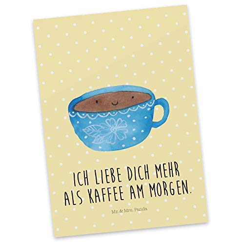 Mr. & Mrs. Panda Karte, Einladung, Postkarte Kaffee Tasse mit Spruch - Farbe Gelb Pastell