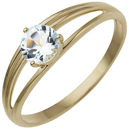 JOBO Damen Ring 585 Gold Gelbgold 1 Blautopas hellblau blau Größe 52