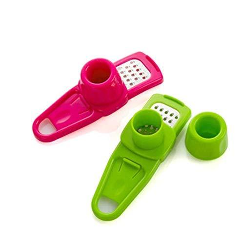 SILOLA Multifunktionale Knoblauchpresse, Kunststoff Ingwer Knoblauch Schleifwerkzeug Mini Knoblauchpresse Küchenzubehör mit 2 Farben Home Küchenwerkzeug