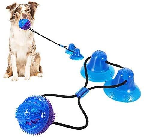 Saugnapf-Hundespielzeug, Seilspielzeug mit 2 Saugnäpfen für Welpen, interaktives Haustier-Leckerli-Ball, Hunde-Seil, Kauspielzeug, Haustier-Biss, Zahnreinigungsspielzeug