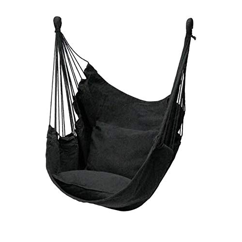 dehong XXL Garden Hanging Chair with Pillow + Storage Bag + Tie Rope,100x130cm (Load Capacity 200 kg) Black Children Garden Swing for Yard Porch Patio