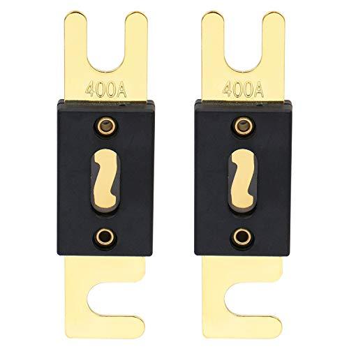 Heschen ANL-Sicherung, 400A, für Kfz-Audiosysteme, goldfarben & schwarz, 2er-Pack, ANL-400